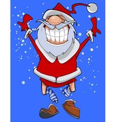 cartoon character cheerful Santa Claus fun jumps vector image