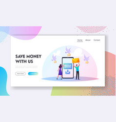 Characters sending sms messages landing page vector