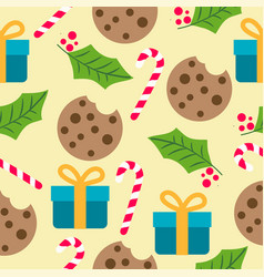 christmas seamless pattern with presents candy vector image