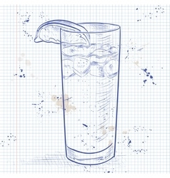 Cocktail Dark and Stormy on a notebook page vector image