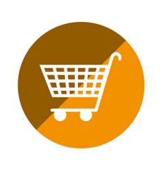 color circular emblem with shopping cart icon vector image