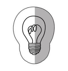 Contour sticker paint bulb icon vector