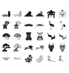 Country japan blackmonochrome icons in set vector