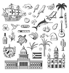 cuba icons havana landmarks and famous items vector image