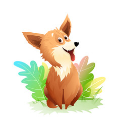 Cute and funny dog or puppy with green nature vector