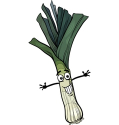 cute leek vegetable cartoon vector image