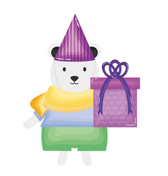 Cute polar bear with giftbox in birthday party vector
