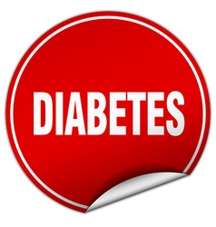 Diabetes round red sticker isolated on white vector