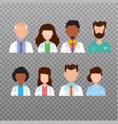 Doctor avatar medical staff icons vector