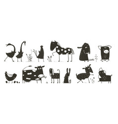 Domestic animals collection vector