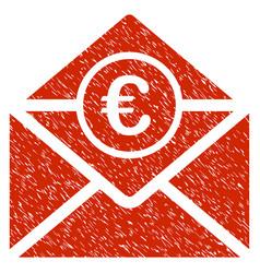 euro mail icon grunge watermark vector image