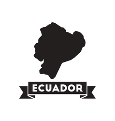 Flat icon in black and white Ecuador map vector