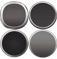 Four round speakers grilles vector