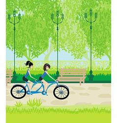 Friends biking in the park vector