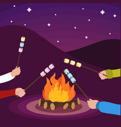Friends make marshmallow on fire concept vector