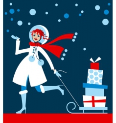 Girl in Christmas shopping vector