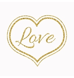 Gold glitter heart on white background for a vector