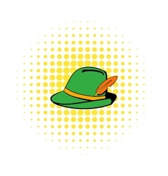 Green hat with feather icon comics style vector
