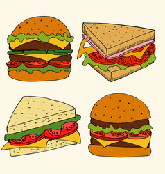 hand drawn of fastfood vector image