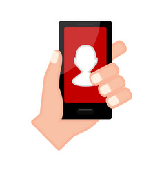 Hand holding a smartphone with a profile app vector