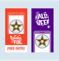 happy halloween invitation design with star vector image