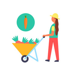 Harvest person farmer and cart vector