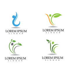 health logo template and symbols leaf green vector image