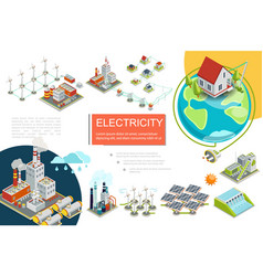 Isometric electricity infographics vector