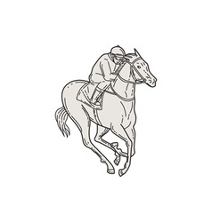 Jockey Riding Thoroughbred Horse Mono Line vector