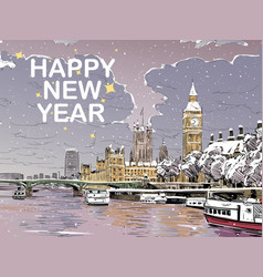 london merry christmas and new year greeting card vector image