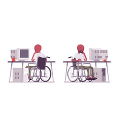male black young wheelchair user working with vector image