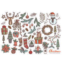 merry christmas happy new year linear doodl set vector image