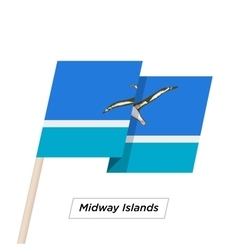 Midway islands ribbon waving flag isolated on vector