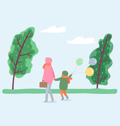 Mother and kid strolling in park windy weather vector
