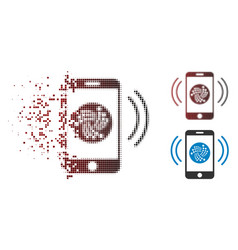 Moving pixelated halftone iota mobile banking icon vector