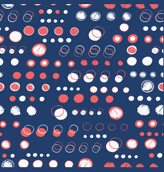 Navy blue white polka dot circles pattern vector