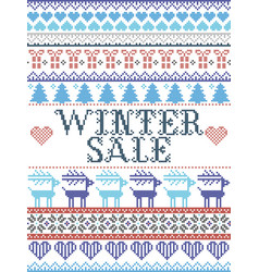 Nordic seamless christmas pattern winter sale vector