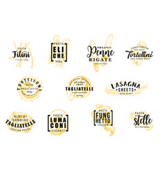Pasta silhouettes on icons lettering pastry signs vector