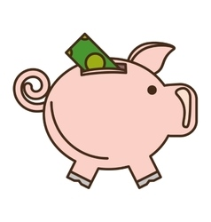Piggy savings with bill isolated icon vector
