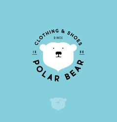 Polar bear logo clothing shoes emblem vector