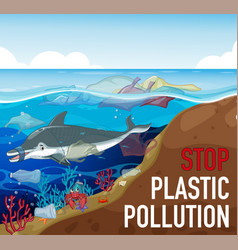 Poster design with dolphin and trash in ocean vector