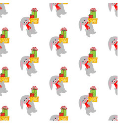 rabbit with gifts pattern vector image