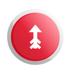 red round button with up arrow symbol vector image