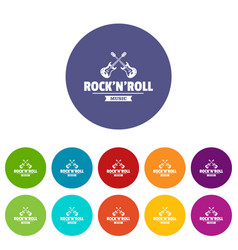 rock n roll icons set color vector image