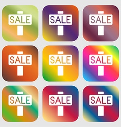 Sale price tag icon sign Nine buttons with bright vector