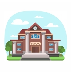 School Building Front View vector image