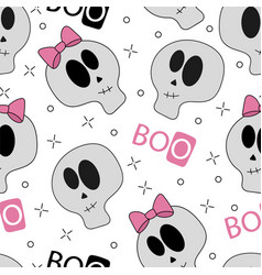 seamless halloween white funny cartoon skulls vector image