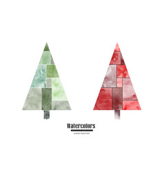 set christmas trees beautiful watercolor hand vector image