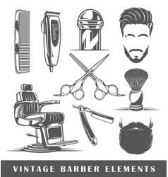 set elements barbershop vector image