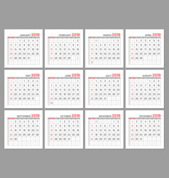 Set identical light mini calendars 2019 months vector